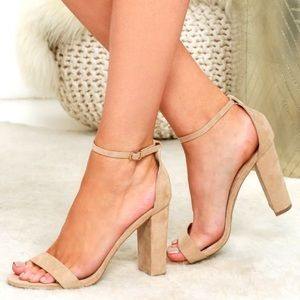 NWT Lulu's Taylor Natural Suede Ankle Strap Heels